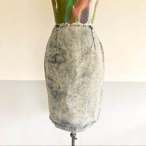 *️⃣VINTAGE 80s Acid Wash Denim High Waisted Skirt